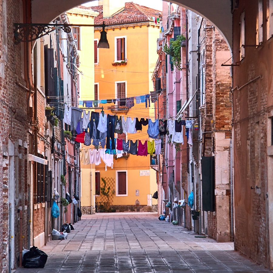 The typical way of drying clothes in Italy. Venice, Italy