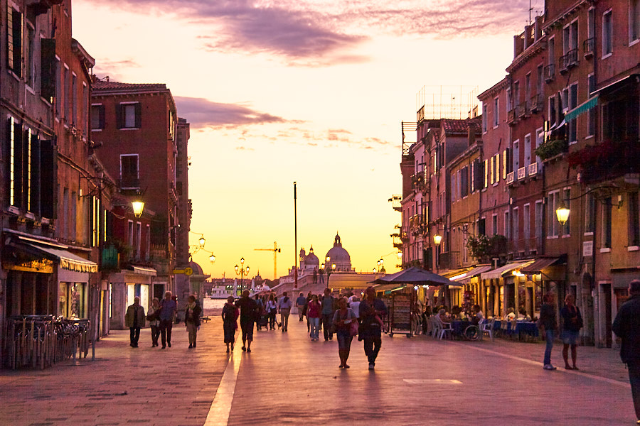 Evening piazza in Venice, Italy