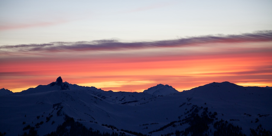 Sunset over Whistler, Black Tusk, and the Tantalus Range on the way back from Blackcomb backcountry. Whistler, BC.