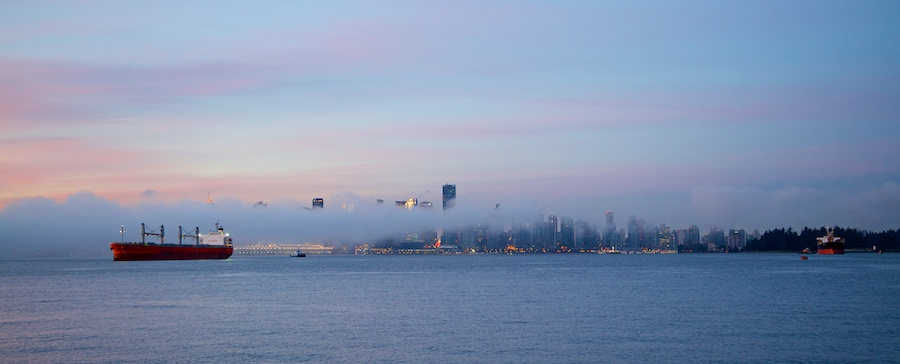 Early morning view of downtown Vancouver from Lonsdale Quay, North Vancouver.