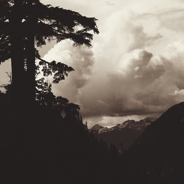 Storm is a' brewin'. On the way up to Sky Pilot, looking back at Tantalus Range.