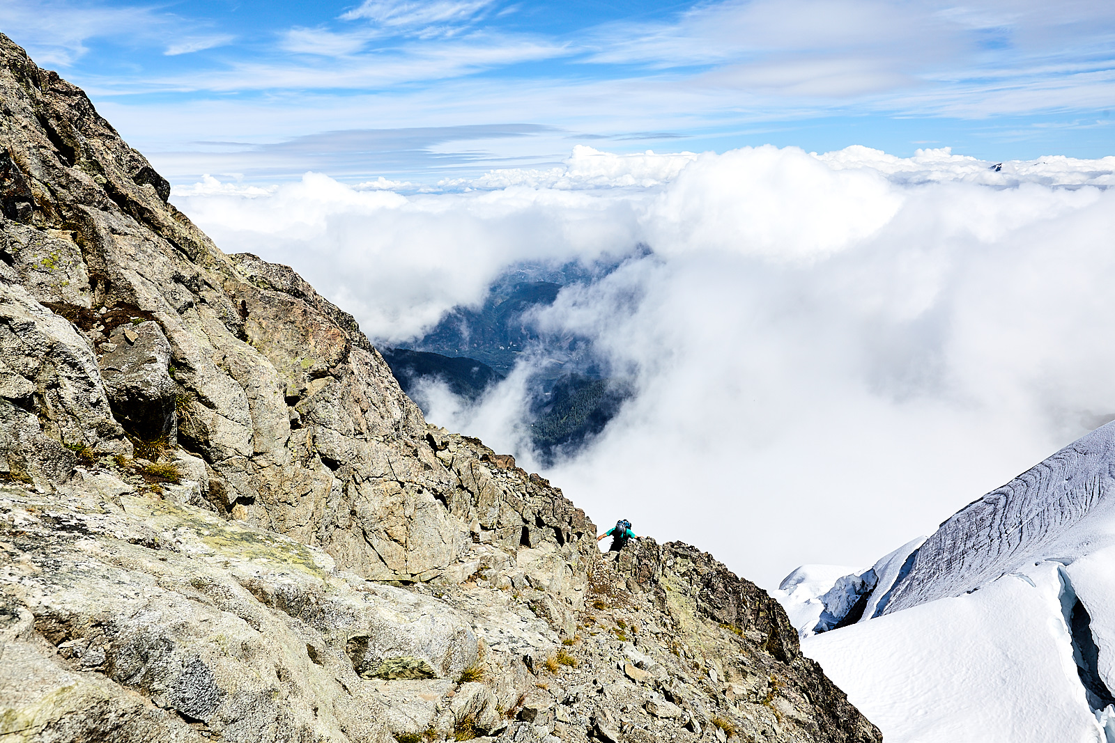 As we approached the summit of Dionne, the clouds started rolling in up high.
