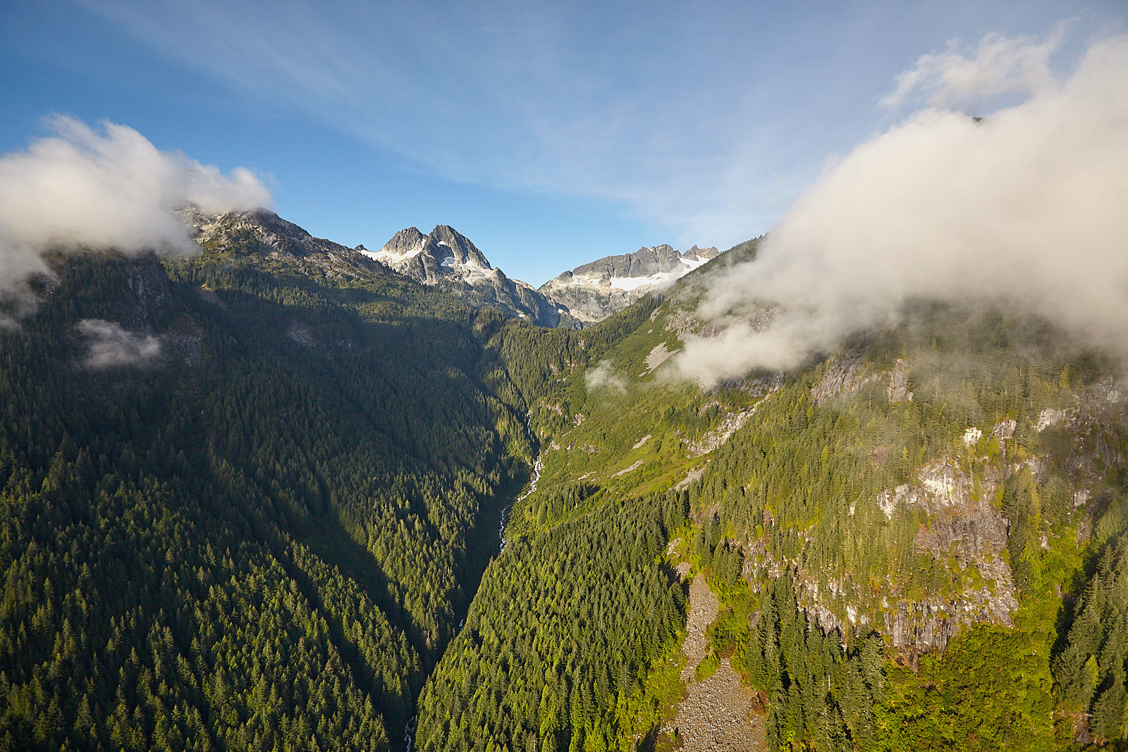 View up the valley as we flew to Haberl Hut. We are aiming for the glacier on the mid-left.