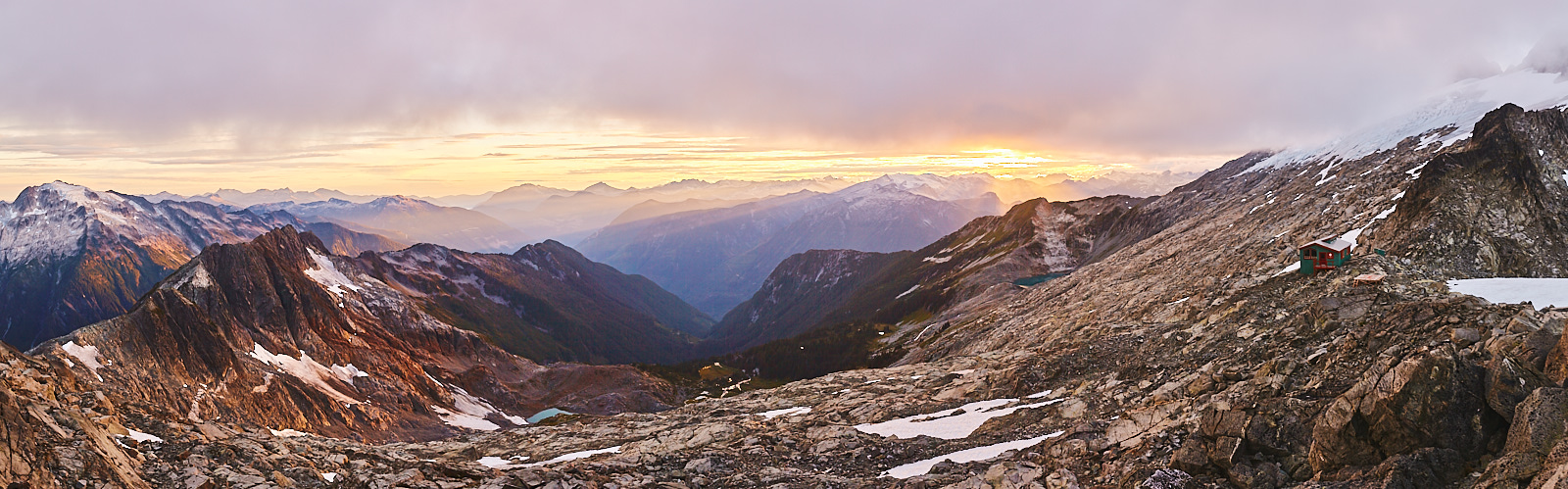 Sunset panorama with Haberl Hut visible on mid right