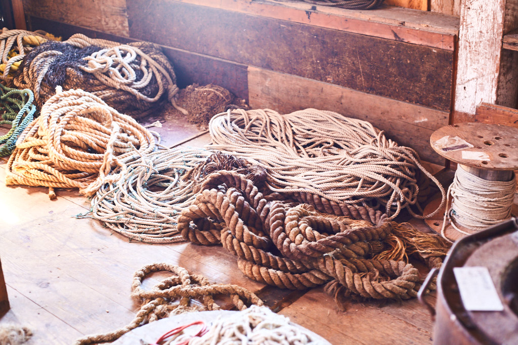 Collection of ropes. Cannery museum near Prince Rupert, BC.